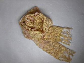 手織りミニストール(ピンク)の画像