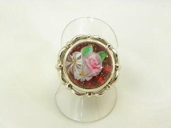 ガラスのリング 花園 【赤】の画像