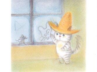 麦藁帽子をかぶった猫 曇りガラスの画像