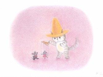 麦藁帽子をかぶった猫 マリオネットの画像