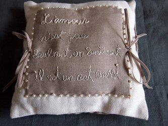 フランス語の詩のあるミニクッション(ラベンダーポプリ入り)の画像