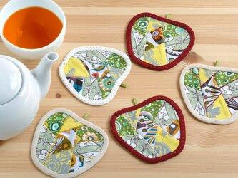 りんごのコースター(5枚組) ~恋するシャボン玉~の画像