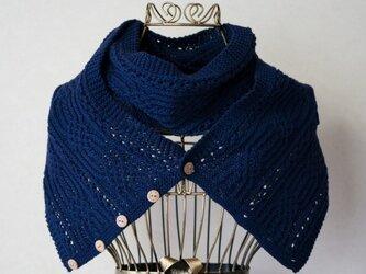 透かし編み入り 綿糸のスヌード(ネイビー)の画像