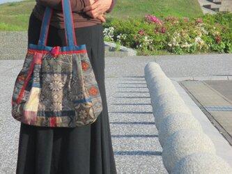 大島紬のパッチワーク バッグ 一点品の画像