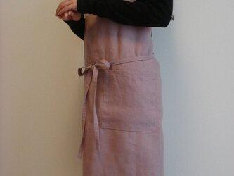 ☆リネン:丈87cm グレイッシュピンクのエプロン☆の画像