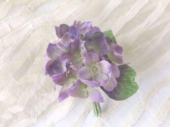 紫陽花 アジサイ * シルク絖製 * コサージュ 髪飾りの画像