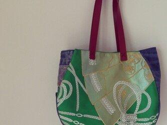 名古屋帯のまんまるバッグ(扇)の画像