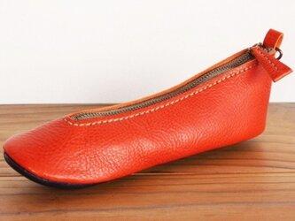 靴型ペンケース OR×NV #8-1 (イタリアンレザー)の画像