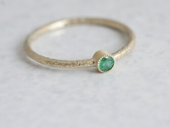 Emerald one stone ring {R050K10EM}の画像
