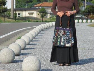 藍色染め木綿のバッグ   一点品の画像