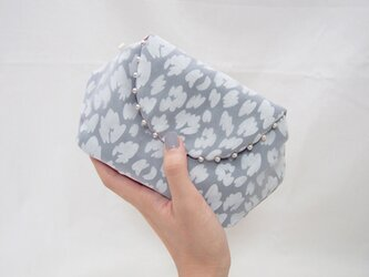 LEOPARD CLUTCH POUCH /smokeyblue【 受注生産 】の画像
