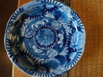 染付け 花紋 輪花ケーキ皿 srcp14003の画像