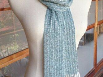 手織り・ブークレ糸のストライプストールの画像