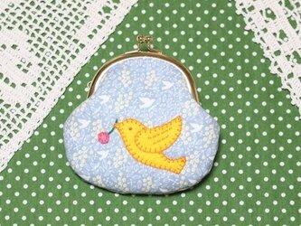 幸せの黄色い小鳥のがま口の画像