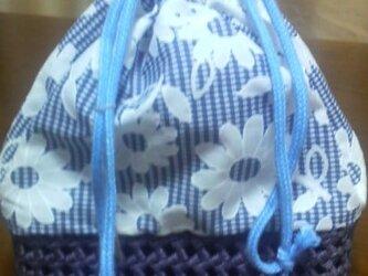浴衣巾着バッグ(青)の画像