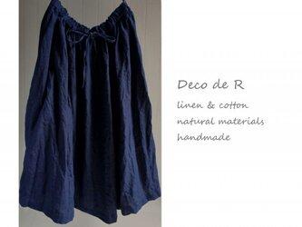 限定インディゴ染めリネンのスカートの画像