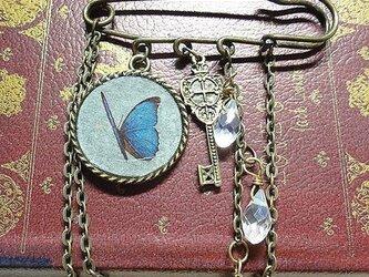【非売品】プレゼント専用レインボーオーラと蝶の標本と鍵のブローチの画像