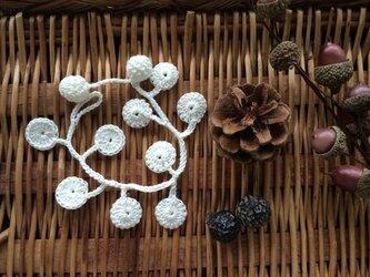 菌糸ブレス&アンクレット白磁色【金具を使わないニットアクセ】の画像