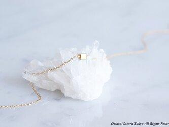 【14KGF】Necklace,Tiny Gemstone Gold Hematite diceの画像