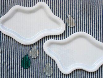 雲のお皿+雫の箸置きの画像