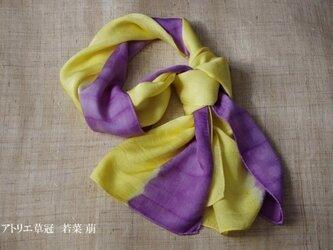 Sold 草木染絞り染め分けシルクストール エンジュ/紫根の画像