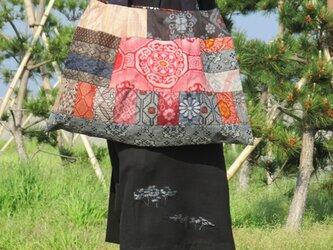 大島紬大型トートバッグの画像