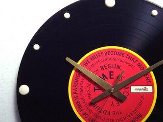 レコード盤壁掛け時計(格言・赤)の画像