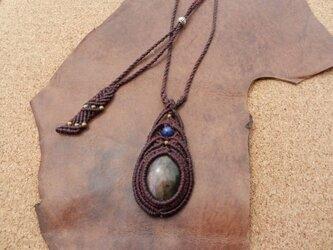 ラブラドライト×ラピスラズリ 天然石デザインネックレスの画像