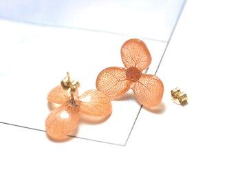 アジサイ【S/茜染】3枚花弁のピアス 14kgf /イヤリングの画像