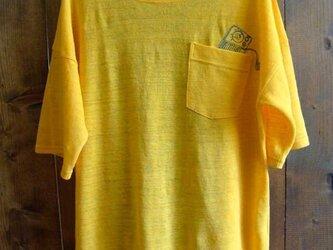 リネン 刺繍Tシャツ/イエローの画像
