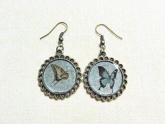 【非売品】プレゼント専用碧の蝶とアゲハのピアスの画像