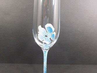 お花ふわりシャンパングラス(ブルー)の画像