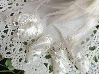 オーダーネイルチップ*ホワイトチュール&ベールネイルの画像