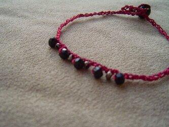 シルク糸のブレスレット スピネル×シルクの画像