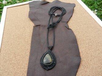 天然石グリーンタイガーアイ シンプルネックレスの画像