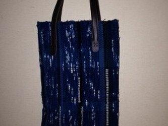 藍染め裂き織バッグの画像