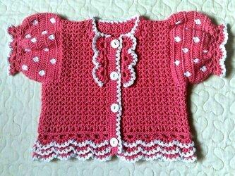 水玉模様とフリルのパフ袖ボレロ 70 ローズピンクの画像