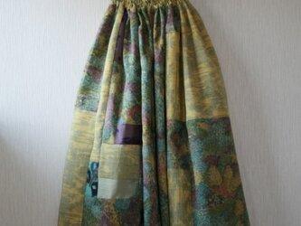 絹ほか  黄、緑系 パッチワークギャザースカート Fサイズの画像
