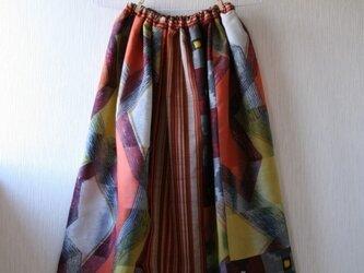 絹  緑系 蝶とひなげしのパッチワークギャザースカート Fサイズの画像