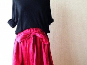 カラーリネン くったりシンプルなリボンスカートの画像