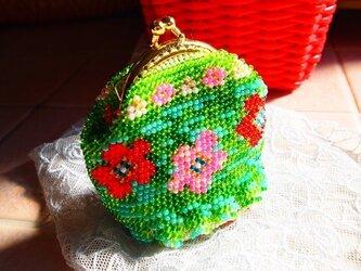 ビーズ編みがま口-flower gardenの画像