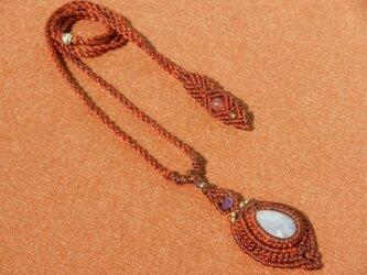 天然石 レインボームーンストーン デザインネックレスの画像