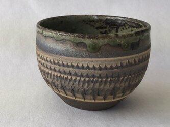 炭化飛び鉋湯碗の画像