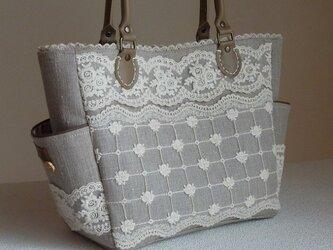 サイドポケットバッグS(リネンとチュールレースno.2)の画像