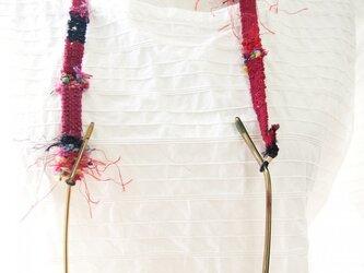 手織りのめがねストラップ赤の画像