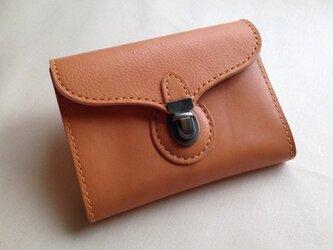 差し込み金具のミニ財布*イタリアンレザー*ナチュラルの画像