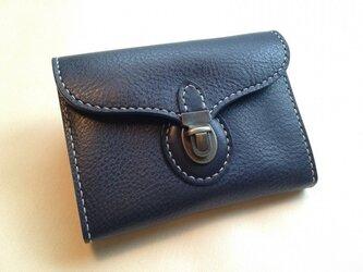 差し込み金具のミニ財布*イタリアンレザー*ネイビーの画像