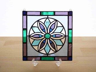 ステンドグラス ミニパネル 花模様 青 15cmの画像