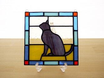ステンドグラスパネル 猫 15cmの画像