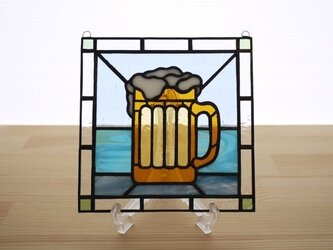 ステンドグラス ミニパネル ビール 15cmの画像